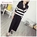 2016 New Arrival Women's Autumn Clothes Knitting Striped Pullover Top And Loose Pant Set Female Casual Suits 2 Colors In