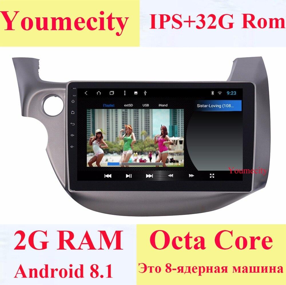 10.1 Octa base Android 8.1 Voiture DVD GPS pour HONDA FIT JAZZ 2007 2008 2009 2010 2012 2013 radio vidéo lecteur Capacitif 1024*600