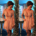 Saudi Arabic Lace Short Cocktail Dresses Long Sleeves 2016 Pearls Sexy Evening Gowns Deep V-neck Arab Ladies Formal Party Dress