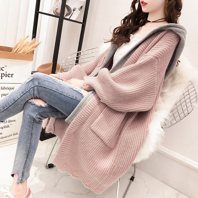 2019 Autumn Women New Medium Length Fake Two Horn Buckle Thick Sweater Cardigan Coat Gentle Wind Hooded Sweater Coat Female Z64