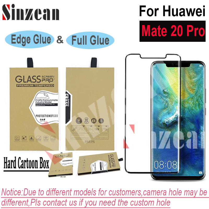 Sinzean 50pcs 3D Curved Full Covered Tempered Glass screen protector For Huawei Mate 20 Pro edge