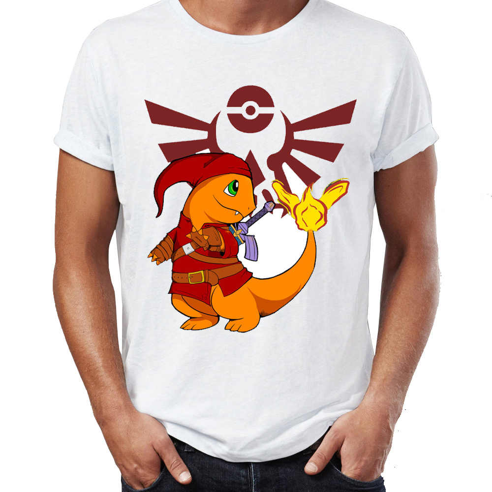 067562422 Men's T Shirt Pokemon Link Breath of The Wild Charmander Squirtle Zelda Gaming  Game Awesome Artwork