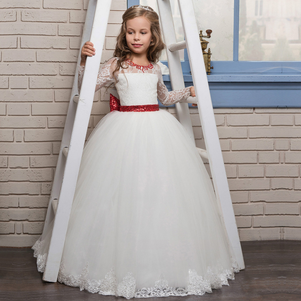 Sweet Scoop Neck Lace Long   Flower     Girl     Dresses   For Wedding Full Sleeve Bow Sash First Communion Gowns Special Occasion   Dresses