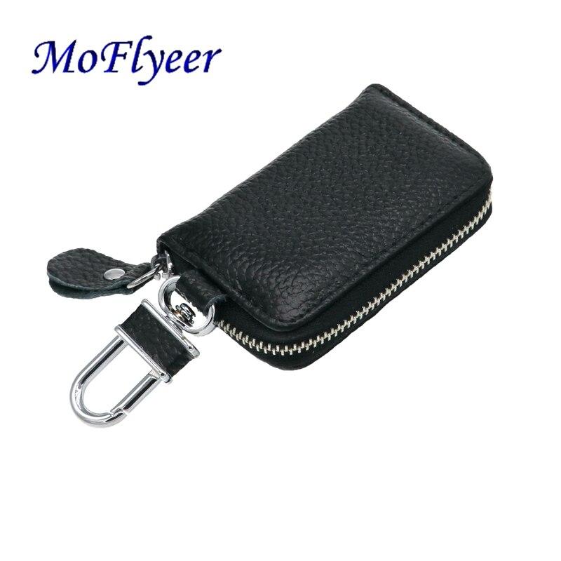 MoFlyeer Genuine Leather Unisex Solid Key Wallet Organizer Bag Car Housekeeper Holde