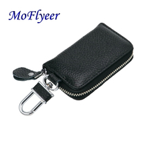 MoFlyeer Genuine Leather Unisex Solid Key Wallet Organizer Bag Car Housekeeper Holde