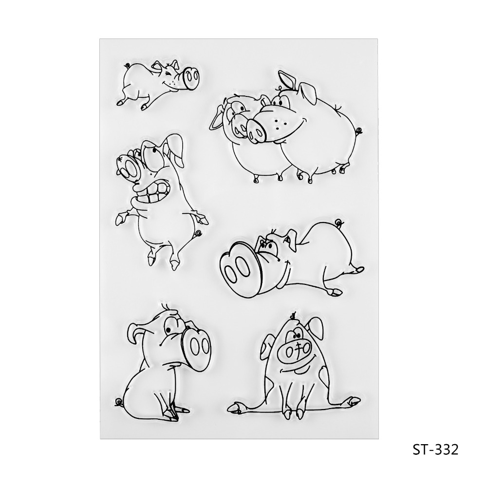 Naughty pig Transparent Clear Silicone Stamp/seal for DIY Scrapbooking/photo Album Decorative Clear Stamp Sheets. lovely animals and ballon design transparent clear silicone stamp for diy scrapbooking photo album clear stamp cl 278