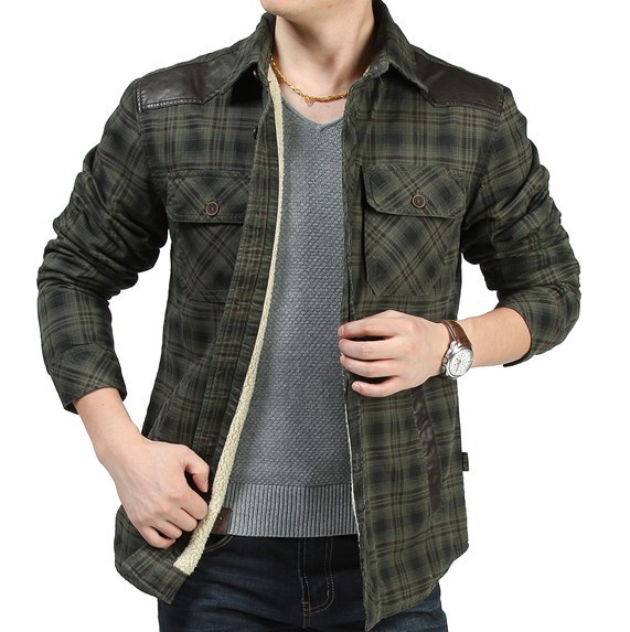 Mens Shirt Leather Patchwork Sleeves Casual Cotton Checks Items Men Plaid shirts Thickening Autumn Winter Plus Size MAW13B003