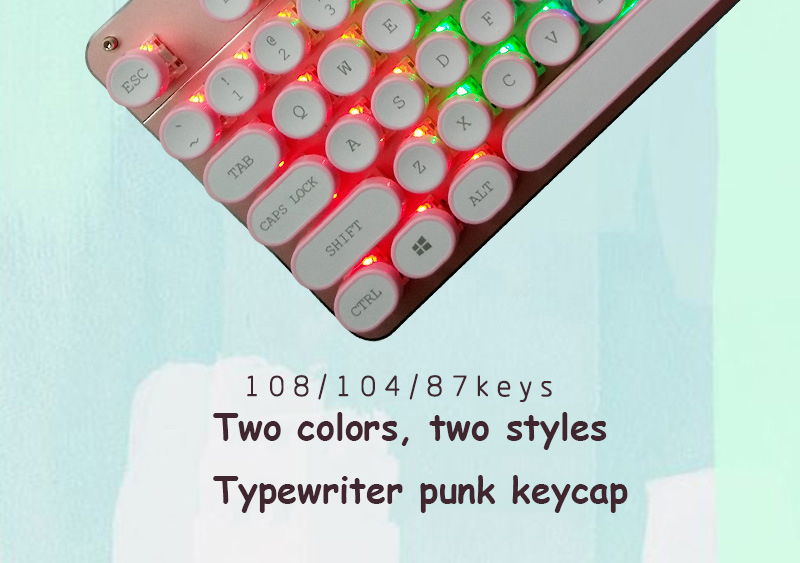 ABS USB Wired Typewriter Steam Punk Style Keyboard With Round Glowing Keycaps For PC Laptop 2