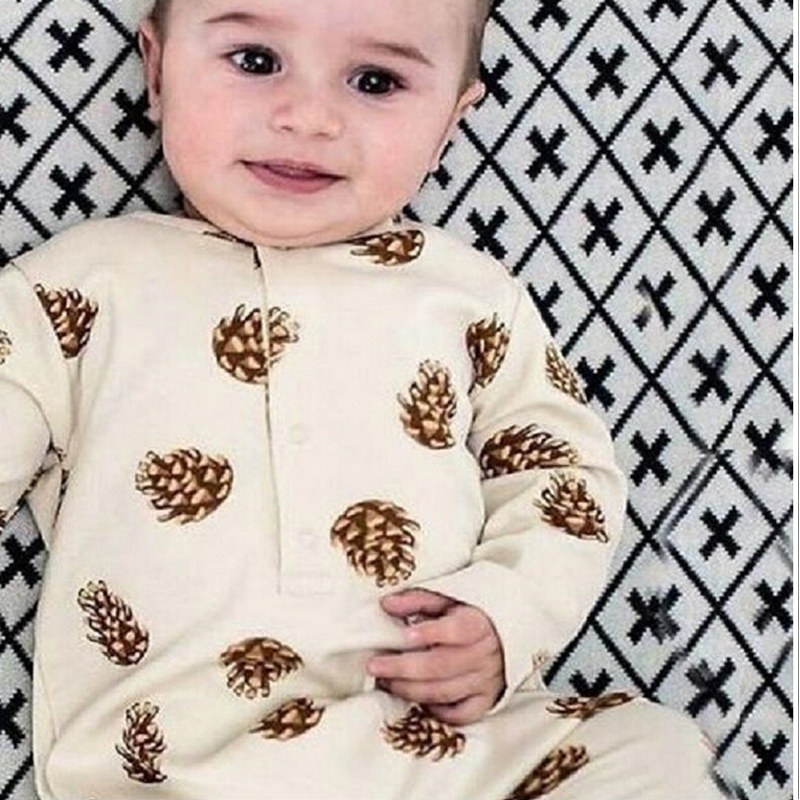 2016 Baby Girl Clothes Cute Romper For Babies Bebe Baby Romper Pinecone Pattern Toddler Fashion Newborn Ropa Mujer Boy Romper newborn baby clothes winter long sleeves with feet baby boy girl clothes babies overalls ropa de bebe infant product baby romper