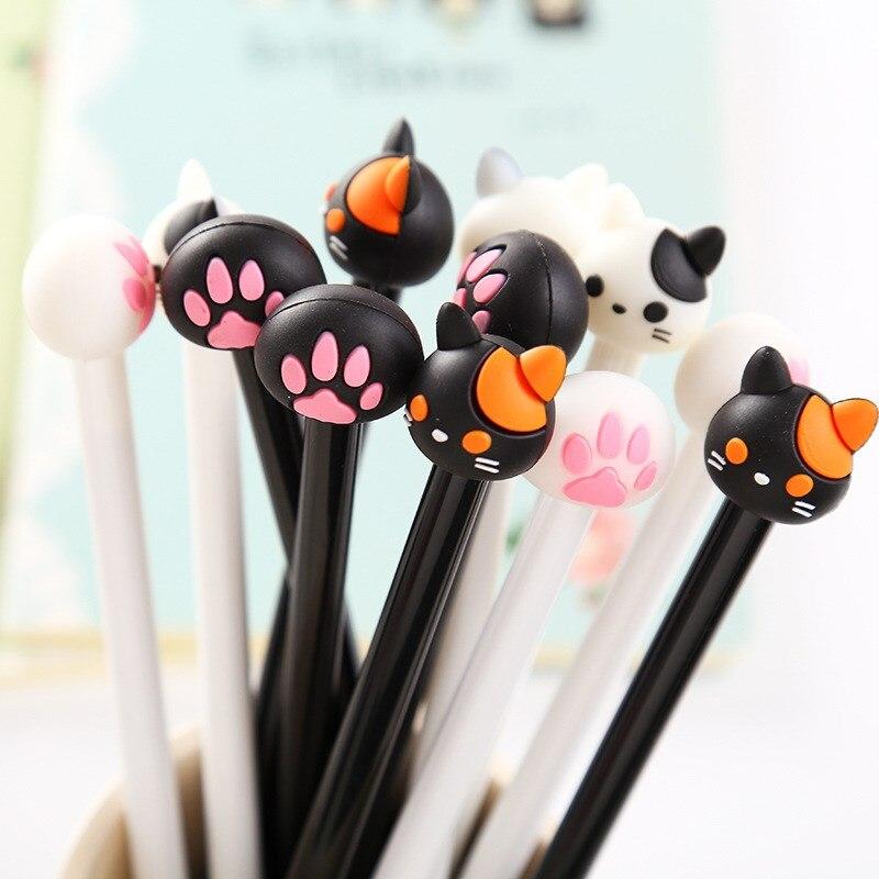 1 Piece Cartoon Cat Claw Kawaii Gel Pen School Supply Office Stationery 0.5mm Gel Pen Handles Creative Cute Gift