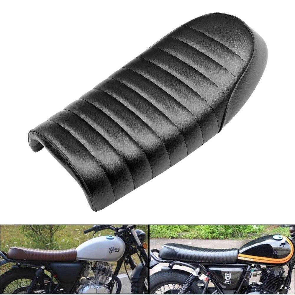 Black Motorcycle Cafe Racer Seat Scrambler Vintage Flat Saddle Flat pan Retro Seat For Honda CG CB200 CB350 CL350 CB400
