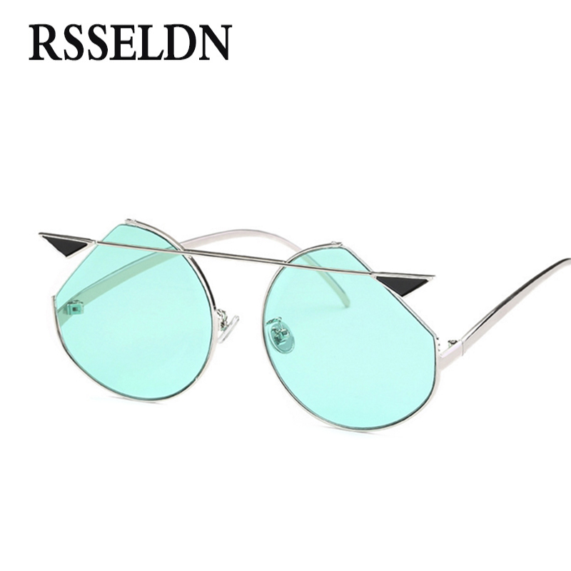 RSSELDN 2018 Cat Eye Sunglasses Women Blue Green Yellow Ocean Vintage Round Sunglasses Men Metal Vintage Retro UV400 Fashion