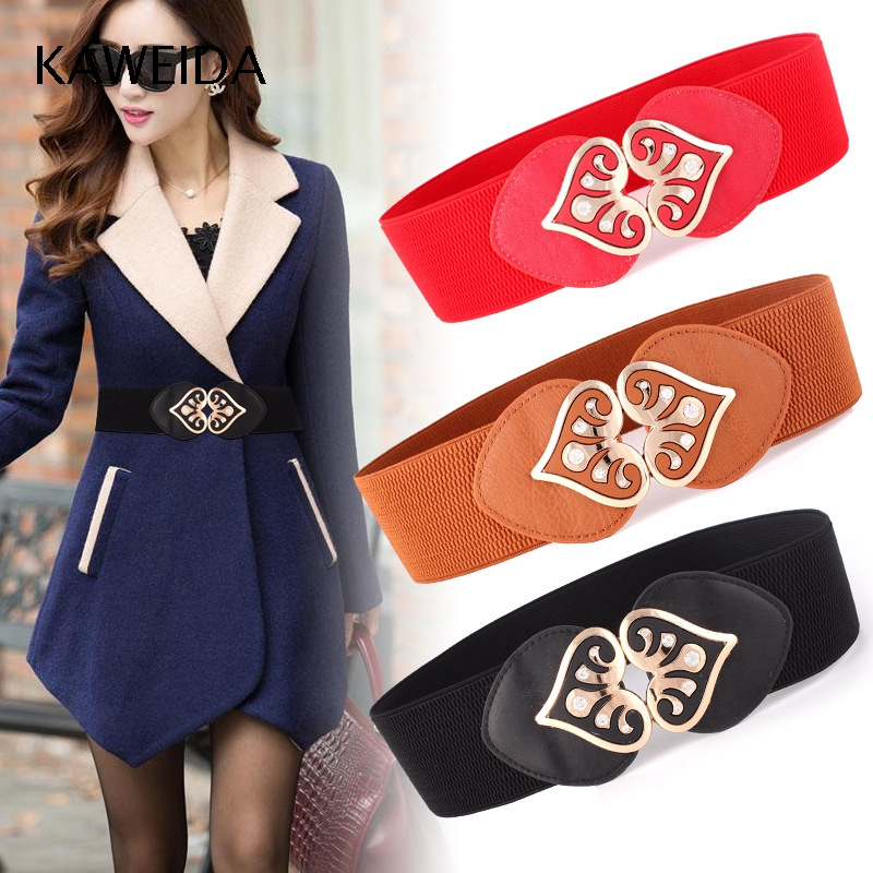 KAWEIDA 2018 Heart Women's Elastic Waist Belt For Dresses Solid Female Cummerbunds 6cm Wide Fabric Knitted PU Leather Kemer Riem