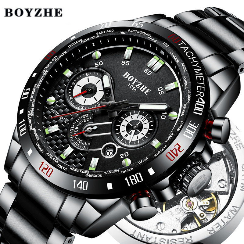 BOYZHE ผู้ชายอัตโนมัตินาฬิกาแฟชั่นแบรนด์หรูนาฬิกาผู้ชายสแตนเลสนาฬิกากันน้ำ Relogio Masculino-ใน นาฬิกาข้อมือใส่เล่นกีฬา จาก นาฬิกาข้อมือ บน   1