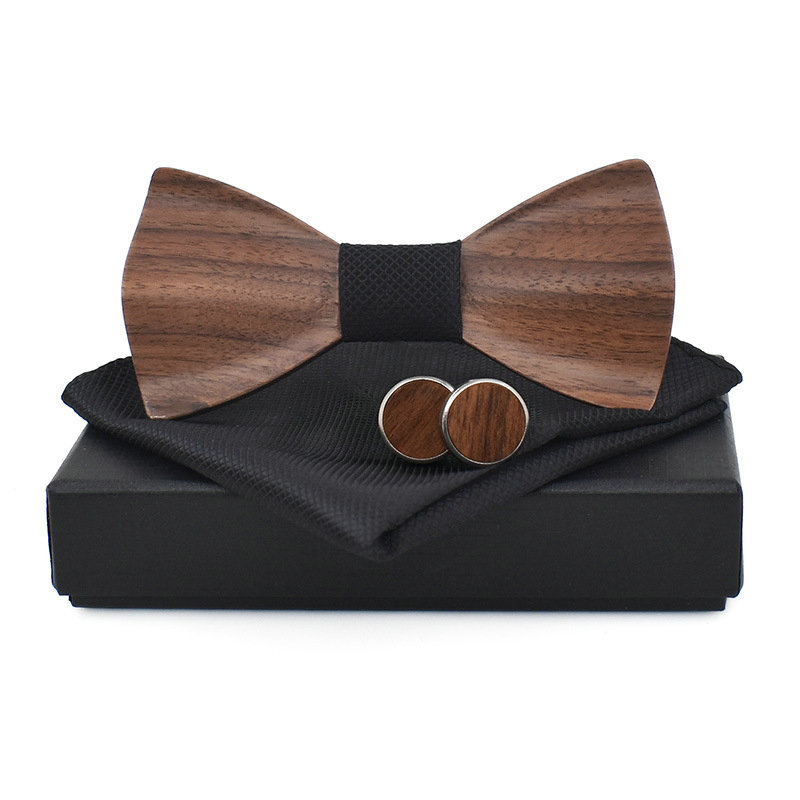 2019 gravieren Geschnitzte 3D Hochzeit Holz Fliege Hanky Manschette Link Plaid Bowtie Set Männer Manschettenknopf Brust Handtuch Taschentuch Tasche platz