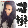 7A Peruvian Body Wave with Closure Cheap Grace Hair Products with Closure 3 Bundles Peruvian Virgin Hair Body Wave with Closure