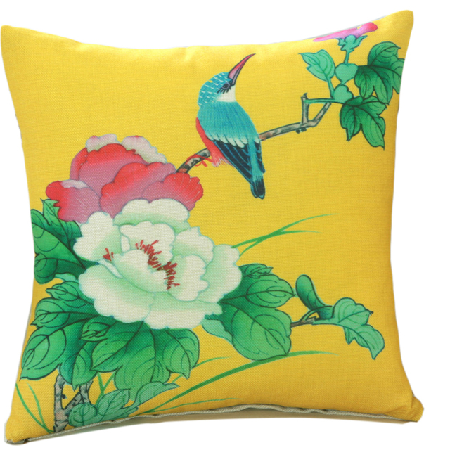 Fabric Design For Pillow Cover: New Design Bird Flowers Chinese Painting Decorative Cushion Cover    ,