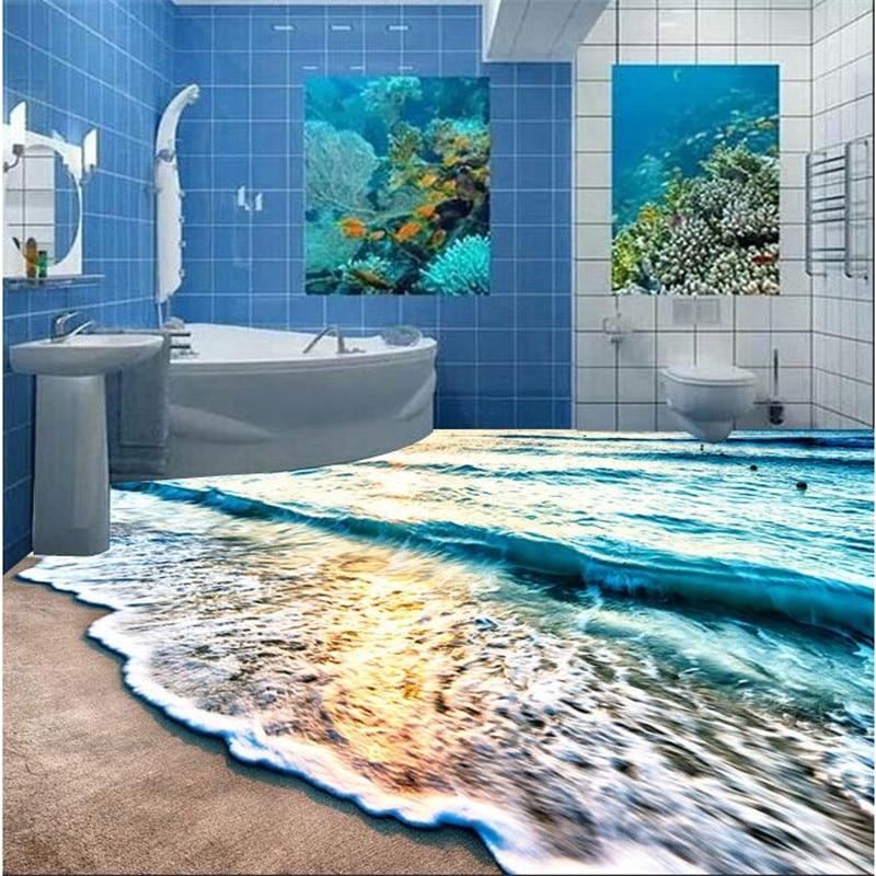beibehang Modern 3D floor painting mural Beach blue sea ...