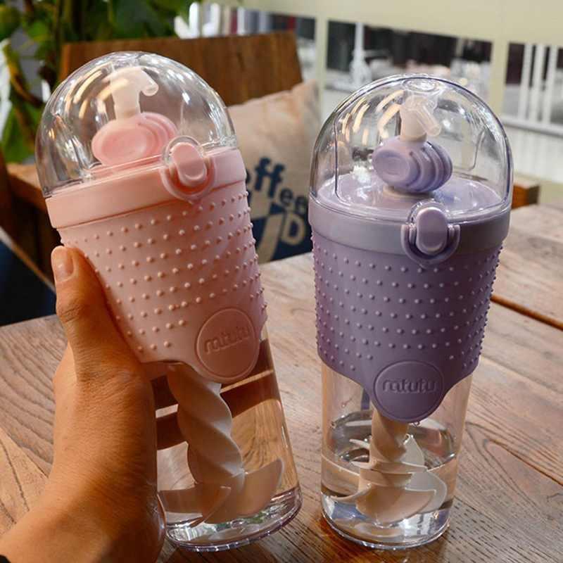 500ML de Água de Plástico Crianças garrafas Shaker Proteína Liquidificador Garrafas com palha BPA Livre Esporte Minhas garrafas de Água Portátil