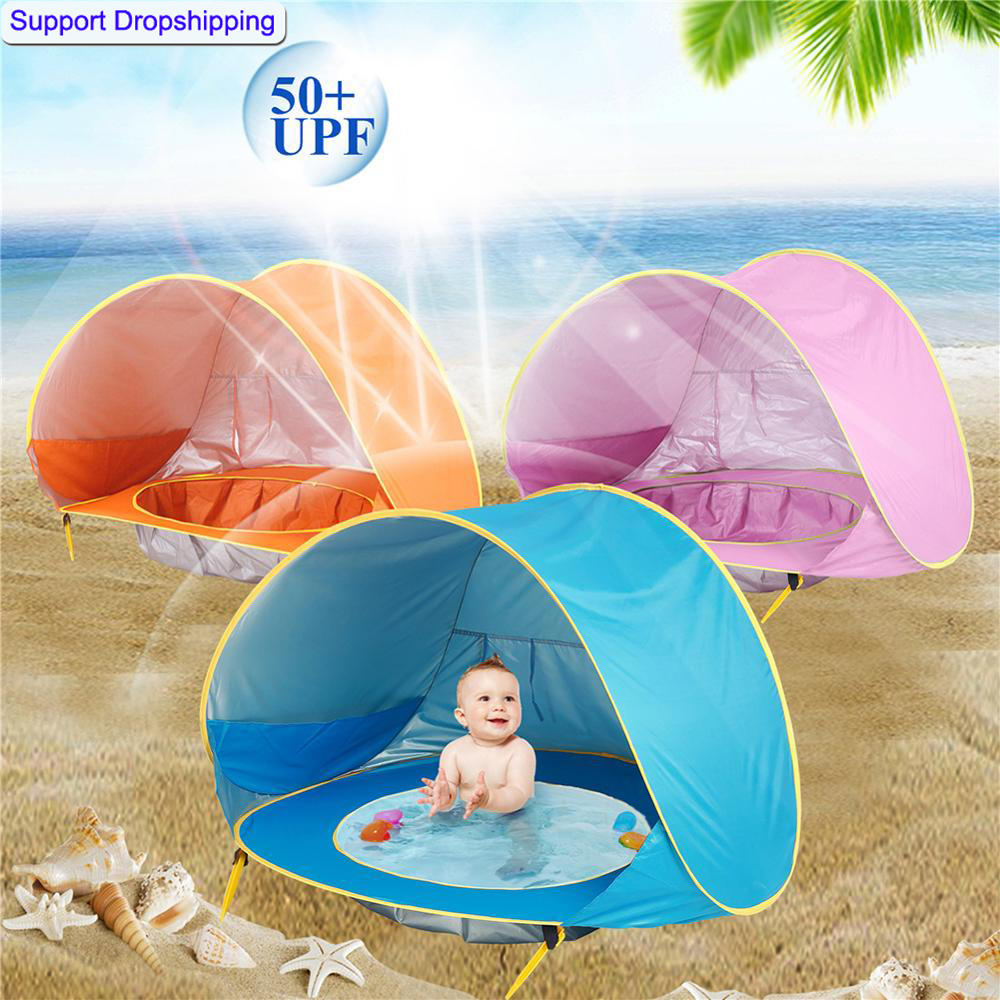 Baby Beach Tent Children Waterproof Pop Up Sun Awning Tent Kid Outdoor Camping Sunshade BeachUV-protecting Sunshelter With Pool
