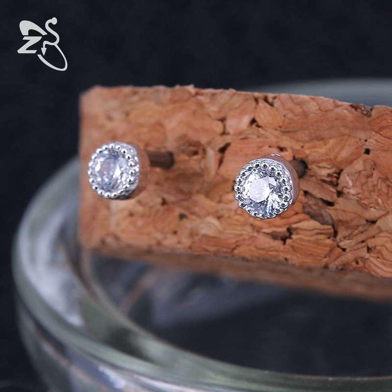 ZS 2piecs/lot 316L Stainless Steel Earrings for Women Crown Crystal Stud Earrings Cute Star Stud Earrings boucle d'oreille femme