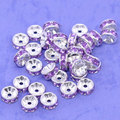 100 Pcs Silver Plated Purple Rhinestone Rondelle Spacers Beads 8x4mm(W01656 )