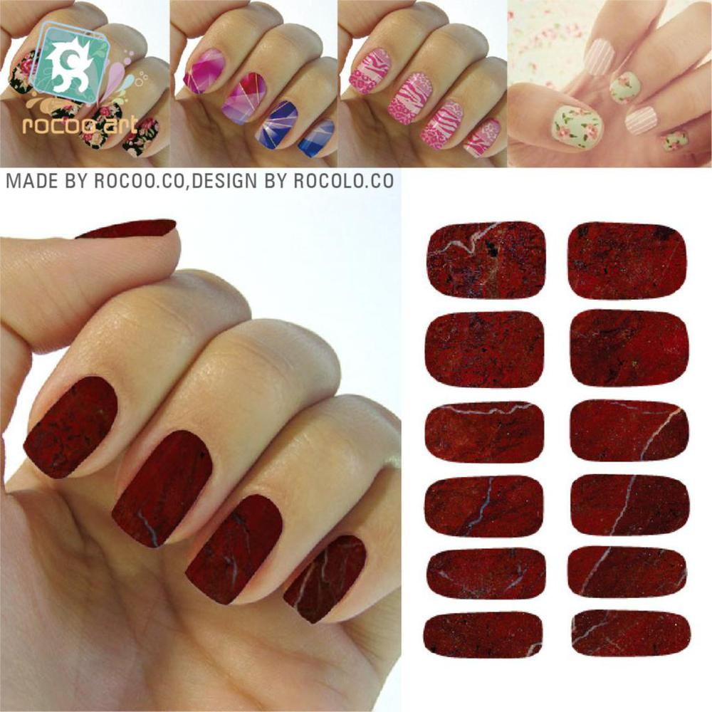 K5743 2016 New Water Transfer Nail Foil Sticker Art Sexy Deep Red Blood Marble Stone Mars Rock Nail Wraps Sticker Manicure Decal