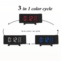 Rotating projection digital LED clock Temperature/hygrometer clock FM radio electronic clock desktop Curved screen alarm clock