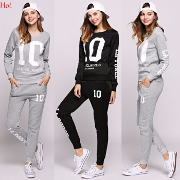 Spring Women 2Pcs Sets Hoodies Number Letters Printed Sweatshirt Sweat Pants Trousers Clothing Sets Fashion Casual Outwear Suit