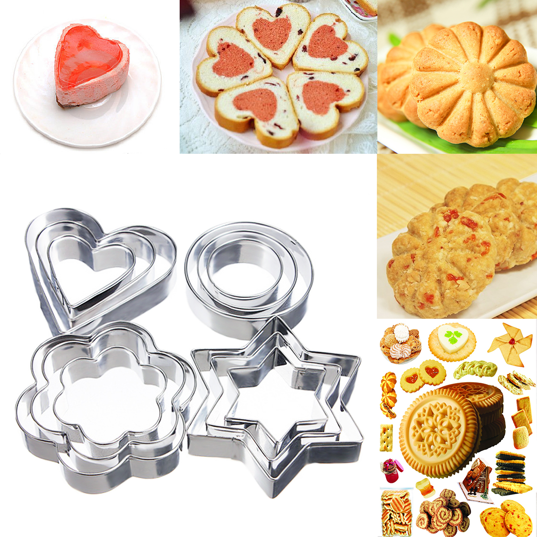 Baking Mold 12pc/set Stainless Steel Cookie Cutter Star Heart Cake Stencils Chocolate Soap Mold Pastry Biscuit DIY Kitchen