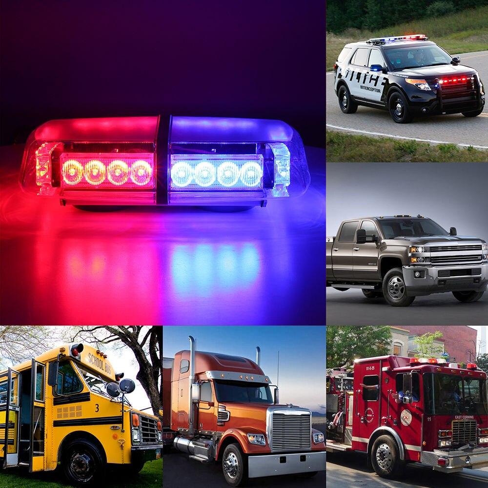 CYAN SOIL BAY 24LED 24W Emergency Advisor Strobe Flash Warning Light Bar Car Magnet Red&Blue
