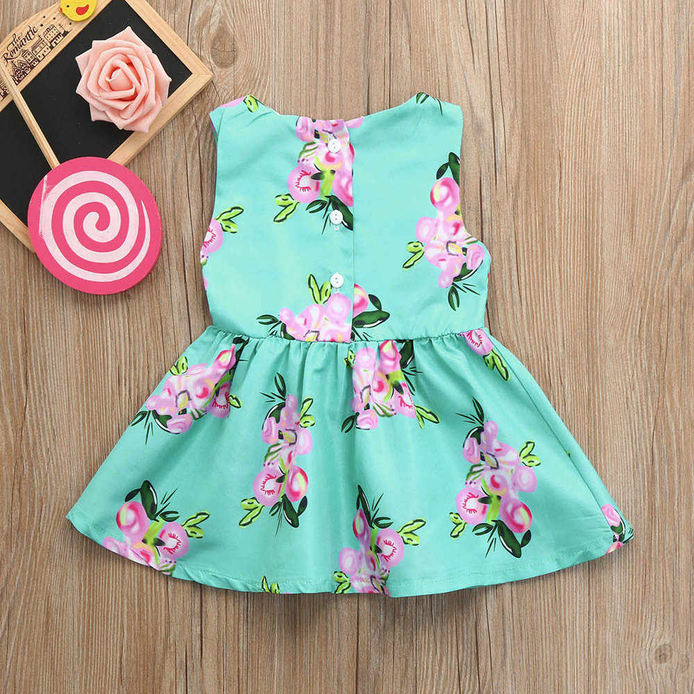 7bd3150292a5e ... LONSANT New Arrival Summer Cute Baby Girls Infant Kids Blue Floral  Print Sundress Sleeveless Clothes Princess
