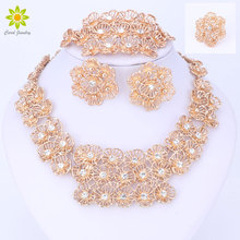 Jewelry Sets For Women Fine Crystal Flower Necklace Set African Beads Earrings Gold Color Pendant Wedding Dress Accessories