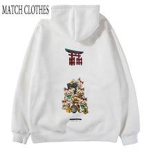 Harajuku Fashion Casual Streetwear Hip Hop Tops Black Hoodie Japanese Cats Print Pullover Hoodies Hooded Sweatshirts