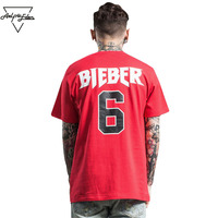 Aelfric Eden BIEBER 6 Concert Burst Section Red T Shirt ALL ACCESS Print T Shirt Hi