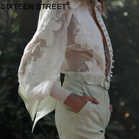 2019 Autumn Solid White Women Shirts Turn down Collar Sexy Blouses Summer Vacation Holiday Embroidered Lace Blouse Top for lady