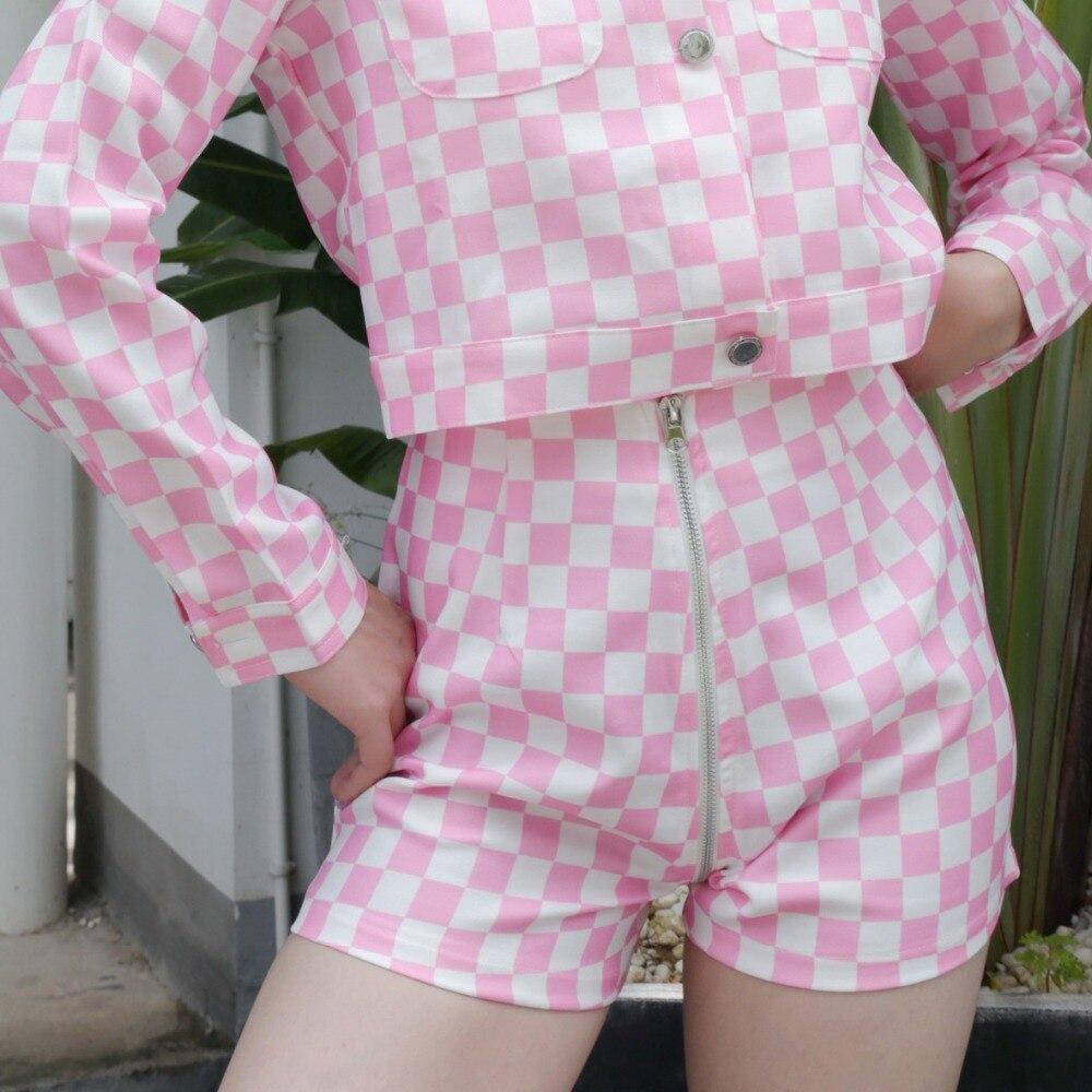 fa886be69 US $16.77 |Plaid Checkered Women Cropped Jacket Short Basic Coats 2019  Autumn Female Biker Bomber Jacket Casual Outerwear Casaco Feminino-in Basic  ...