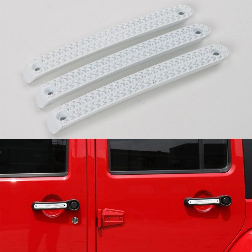 YAQUICKA 3 pièces/ensemble en alliage de Zinc 2 portes Auto voiture poignée de porte bande couverture barre moulage garniture autocollant adapté pour Jeep Wrangler JK 08-16