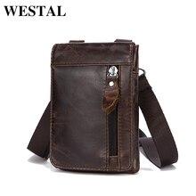 WESTAL Crossbody Men Messenger Bags Genuine Leather Belt Bag Men Messenger Bag Vintage Cover Casual Solid Zipper Small Belt Bag