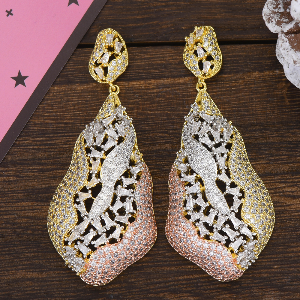 GODKI 3 Tone African Dangle Drop Earrings Trendy Cubic Zirconia Wedding Engagement Party Indian gold earrings for women 2019