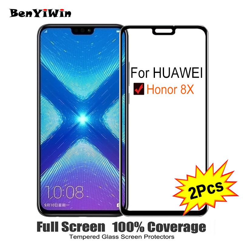 2PCS Full Cover Screen Protector Tempered Glass For Huawei Honor 8X 6 50 9H Protective glass