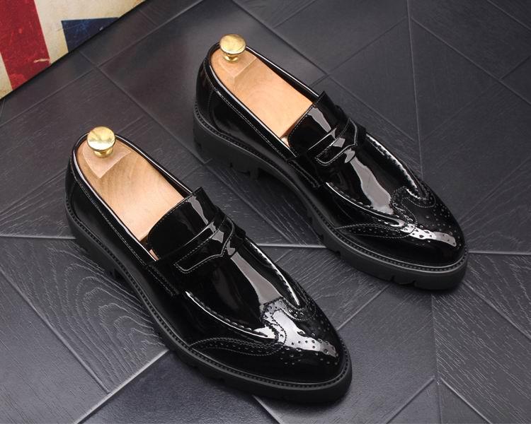 Couro Em Negócios as Toe As Rodada Da Deslizamento Lazer Sapatos De Moda Brogue Sapato Barco Patente Tendências Homem Chegada Mens Photo Photo Errfc Nova Preto xU6gPg
