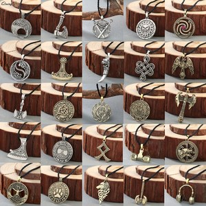 Norse Statement Viking Necklace Men' Pagan Jewelry Wolf Axe Thor Hammer Amulet Symbol Slavic Punk Vintage Women Necklace Gift(Hong Kong,China)