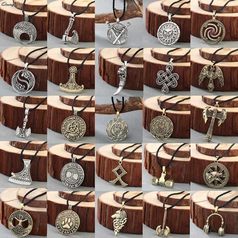 Norse Verklaring Viking Ketting Mannen 'Pagan Sieraden Wolf Bijl Thor Hamer Amulet Symbool Slavische Punk Vintage Vrouwen Ketting Gift