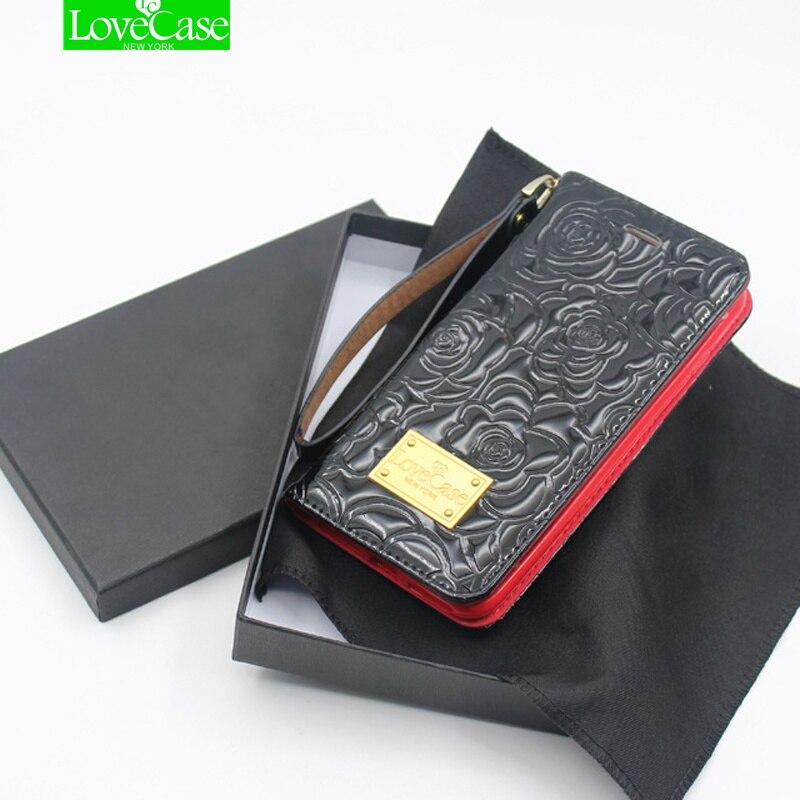 LoveCase metal logo 3D camellia patent leather case For iphone X 10 Flip wallet skyle phone bag&cases for iphoneX 8Plus case