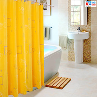 180 180cm 1Pcs Yellow Sea Stars Shower Curtains Design Water Resistance Fabric Polyester Waterproof Home Bathroom