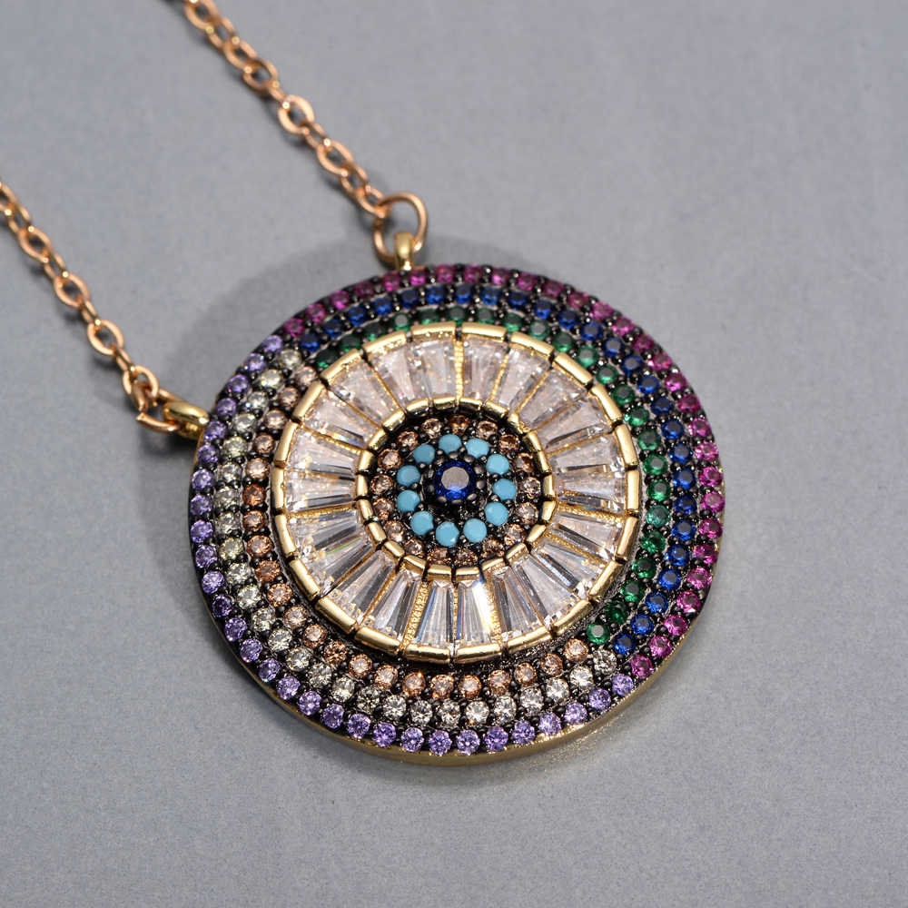 women's initial cz necklace rainbow zircon eye heart copper pendent necklace jewelry for women long snake chain mom's gift
