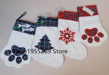 Burlap Christmas Stockings Wholesale 10pcs/lot Pet Dog Plaid Paw Stocking 2018 Christmas Large Socks Decoration