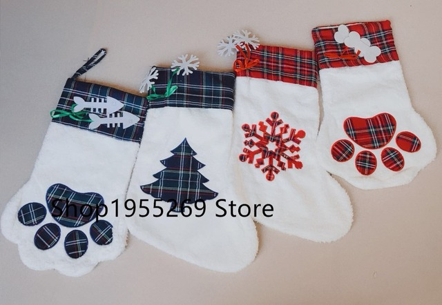 Burlap Christmas Stockings.Aliexpress Com Buy Burlap Christmas Stockings Wholesale 10pcs Lot Pet Dog Plaid Paw Stocking 2018 Christmas Large Socks Decoration From Reliable