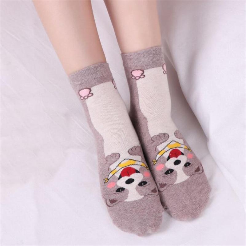 LETSBUY 5pairs lovely dog short socks women 39 s cotton cartoon animal woman casual dress gift socks Calcetines de dibujos animados in Socks from Underwear amp Sleepwears